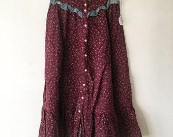 Vintage Gunnies Skirt, Prairie Skirt, XS, Gunnies by Jessica, Jessica McClintock Gunne Sax Maxi