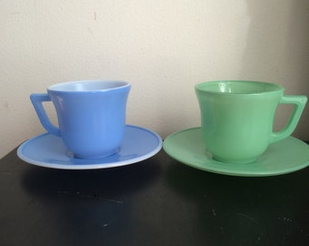 Vintage Hazel Atlas Little Hostess Cups and Saucers Green and Blue Demitasse or Children's Set