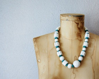 vintage CHUNKY geometric STATEMENT necklace / 1960s  wood beaded necklace