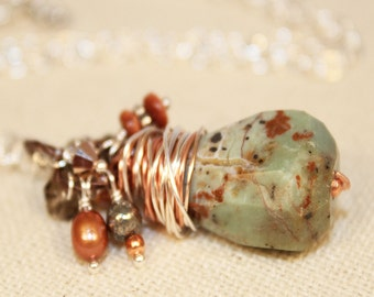 Green Opal Natural Gemstone Necklace October Birthstone Mix Metal Wire Wrapped Pendant