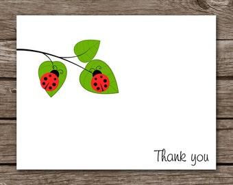 PRINTABLE Ladybug Cards, Ladybug Note Cards, Ladybug Notecards, Ladybug Stationery, Ladybug Stationary, Personalized Cards,