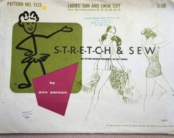 Vintage Ann Person Stretch & Sew 1325 - 1967 Women's vintage swimsuit pattern Bust 32-42