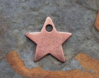 1 Antique Copper Star Charm, Nunn Design 13x13mm