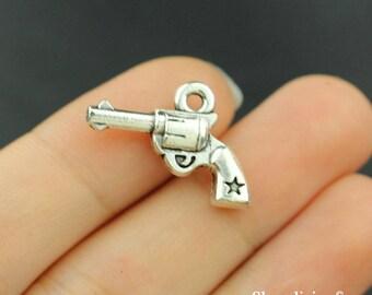 10pcs Gun Charm Pendant Antique Silver Tone - SC290