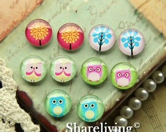 20% OFF SALE - 10pcs 12mm Mixed Handmade Photo Glass Cabochon / Wooden Cabochon  -- MCH002H