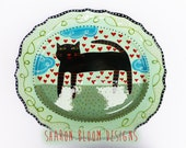 Ceramic Black Cat Hearts Oval Platter Love is in the Air Valentine Hand Painted from Sharon Bloom Designs