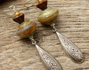SIMPLY - Handmade Lampwork, Glass Beads, Silver Earrings