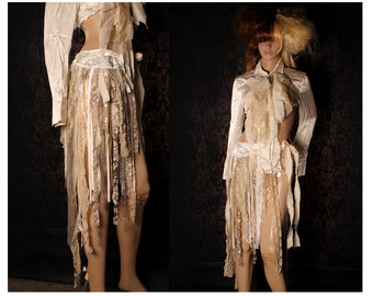 Tattered Wrap Skirt, vintage white hip scarf, Tribal Belly Dance, shabby chic, Witchy shawl, steampunk costume, wasteland, hippie skirt,