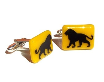 Glass Lion Cufflinks Enamel Screenprint Custom Colours