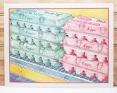 Vintage School Poster National Dairy Council Print Eggs Grocery Store Illustration Breakfast Food 1987