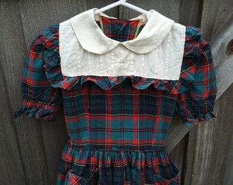 1950s Plaid Dress Girls 6/7