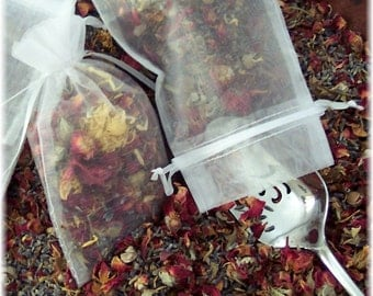 Rose Petal and Lavender Sachets,  Natural Closet Freshener, Herbal Sachet,  Drawer Sachet Set of 3