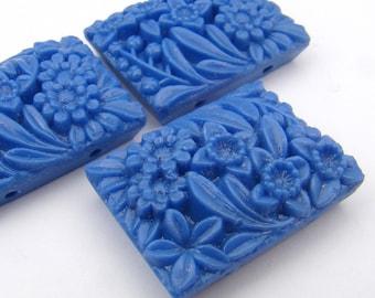 Vintage 2 hole rectangular blue beads, Japanese opaque glass flower floral 27mm, 3 pcs