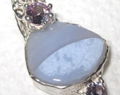 SALE- Agate and Alexandrite Sterling Silver Pendant OOAK USA Made Hand Cut #19 Treasurings Jewelry Jerry Burkhart