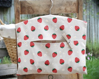 Strawberry Print Clothespin Bag / Peg Bag