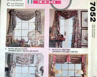 Sewing Pattern McCall's 7052 Window Treatments Swags Home Decorating Uncut Complete