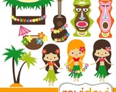 60% OFF SALE Clipart Luau Party 07419.. Commercial use digital clip arts.. Hawaiian girls, tiki bar,banjo, coconut tree images
