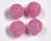 Vintage GERMAN GLASS BEADS Hot Pink Dimpled 8mm pkg4 gl356