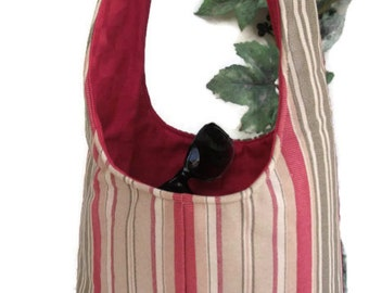CLEARANCE Hobo Bag , Fabric Purse , Over the Shoulder Sling Bag ,  Small Stripe Purse