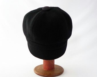 Black Womens Hat, Newsboy, Cashmere, Wool Hat, Brimmed Hat, Elegant Hat, Newsboy Cap, Everyday Hat, Textured Wool, Faux Suede Accents, Gift