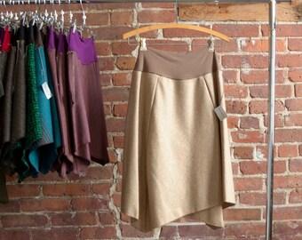 Sale Skirt, Womens Skirt, Camel Wool, Organic Bamboo Waistband, Asymmetrical, Long Skirt, Casual, Office Skirt, 2/4/6/8/10, Ready to Ship