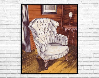 Vintage Tufted Chair - Art Print - Chair Art - Wall Art - Tinker Swiss Cottage -Housewarming Gift - Well Loved
