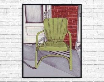 Art Print - Vintage Metal Lawn Chair - Wall Art - Metal Lawn Chair - Porch Art - A Porch in Paducah - under 25 - Housewarming gift