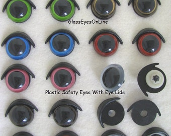 Set of 10 Safety Eyes With Eye Lids and Washers 21mm or 24mm For Dolls, Puppets, Animals, Teddy Bears, Crafts, Crochet, Sewing,  (PEEL)