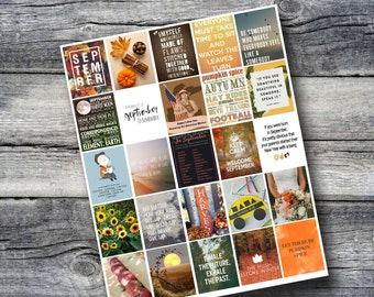 September Planner Printable Sticker Sheet - Print at Home - fits Erin Condren Life Planner - Month of September Printable - Autumn and Fall