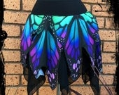 Butterfly Wing Mini Pixie Skirt - Custom made to your size - Gothic Festival Rave Pagan Wicca Wedding Handfasting Monarch Nature