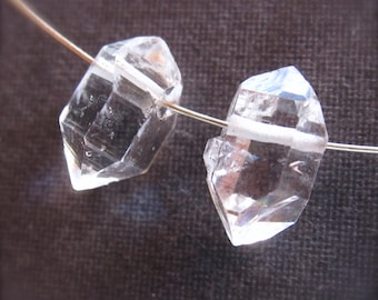 AA Clear Top Drilled Herkimer Diamond beads - 11.5mm X 7mm - pair