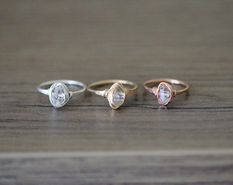 Herkimer Diamond Ring in Gold , Rose Gold , Sterling Silver , Double Terminated Quartz Solitaire , Wire Wrapped Ring