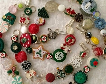 CHRISTMAS SALE *** Whimsical Vintage Junk Bracelets - Collage of buttons, charms, trinkets - snowflake santa candy tree cookies OOAK