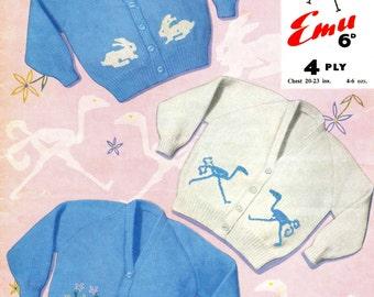 Babies Vintage Rabbit Cardigan and Ostrich Cardigan, Knitting Pattern, 1960 (PDF) Pattern, Emu 975