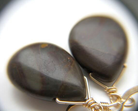 Golden Jasper Earrings . Brown Gemstone Teardrop Earrings . Brown Drop Earrings . Calming Jewelry - Tranquility Collection
