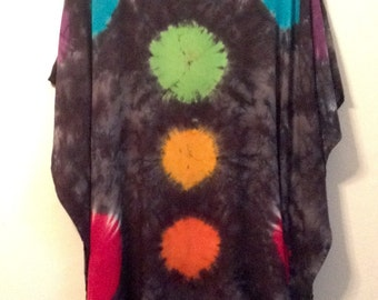 Tie Dye Poncho with Rainbow Dots