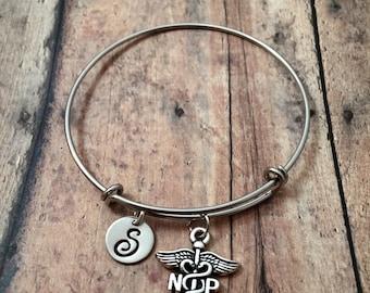 Nurse Practitioner initial bangle - medical jewelry, NP jewelry, silver nurse bangle, NP charm bracelet, gift for nurse, medical bangle