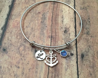 Anchor initial bangle with birthstone- nautical jewelry, anchor bangle, nautical bracelet, gift for navy wife, sailing jewelry, navy bangle