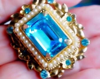 Blue Coro Brooch, Vintage Brooch or Pin, Color of Swiss Blue Topaz, Vintage Coro