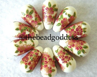 Wholesale Japanese Tensha Beads Pink & Gold Flowers on White Drops 20x9mm-10 pieces