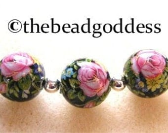 NEW SIZE 5 Japanese TENSHA  Beads Pink Rose Black 10mm