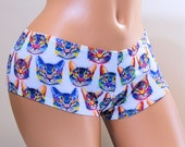 Neon Cat Faces Lycra Boy Booty Shorts Adult All Sizes- MTCoffinz (Choose Hi Rise or Lo Rise)