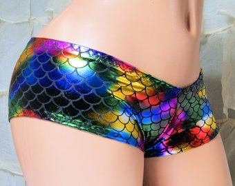 Rainbow Fish Scales Color Shifting Lo Rise Booty Shorts Adult XS XSmall- MTCoffinz - Ready to Ship