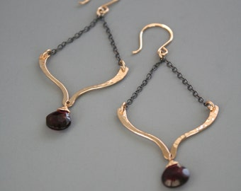 gold filled and oxidized sterling silver lotus earrings with red garnet gemtones, Rachel Wilder Handmade Jewelry