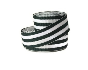 "Black and White 7/8"" Striped Grosgrain Ribbon by the Yard / Black White Hampton / Black Striped Ribbon / Hair Bow Supplies / Preppy Ribbon"