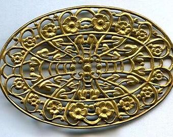vintage brass filigree oval shaped art nouveau design brass filigree stamping