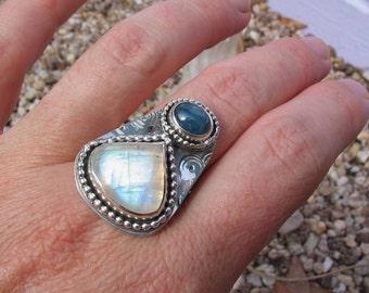 Rainbow Moonstone Ring, Kyanite, Sterling Silver Ring, Moonstone Jewelry, Artisan Silversmith Jewelry