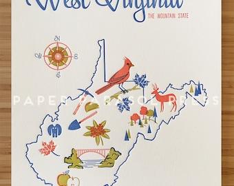 West Virginia Letterpress Print 8x10