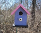 Chickadee Wren Songbird Purple Pink White Knob