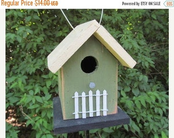 SUMMER SALE Green Yellow Chickadee Birdhouse Primitive White Picket Fence